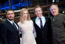 Actors James Franco, Nicole Kidman, Damian Lewis and director Werner Herzog (L-R) arrive on the red carpet for the screening of the movie 'Queen of the Desert' at the 65th Berlinale International Film Festival, in Berlin February 6, 2015.                           REUTERS/Stefanie Loos