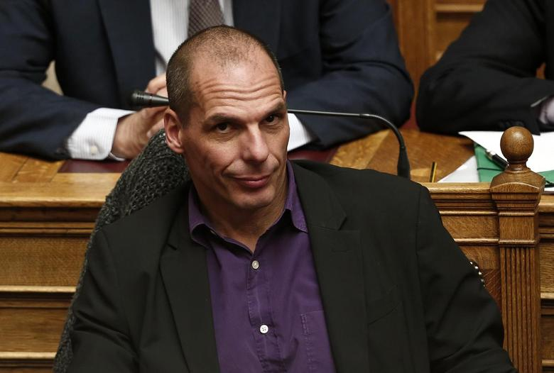 Greek Finance Minister Yanis Varoufakis looks on before the first major speech of Greek Prime Minister Alexis Tsipras in parliament in Athens February 8, 2015.  REUTERS/ Alkis Konstantinidis