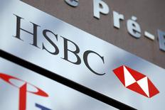 A HSBC logo is pictured at a Swiss branch of the bank, in Geneva February 9, 2015.  REUTERS/Pierre Albouy