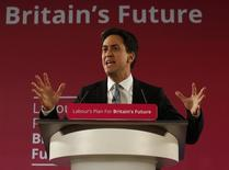 Britain's opposition Labour Party leader Ed Miliband gestures as launches his party's 2015 election campaign, at the Lowry Theatre in Salford, north west England January 5, 2015. REUTERS/Andrew Yates