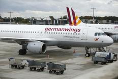 Germanwings aircraft stand on the apron at Cologne-Bonn airport October 16, 2014.  REUTERS/Ina Fassbender