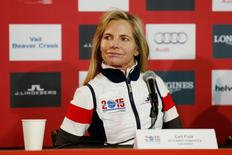 2015 AWSC Organizing Committee president Ceil Folz looks on during a press conference prior to the women's Super G in the FIS alpine skiing world championships at Raptor Racecourse. Mandatory Credit: Jeff Swinger-USA TODAY Sports