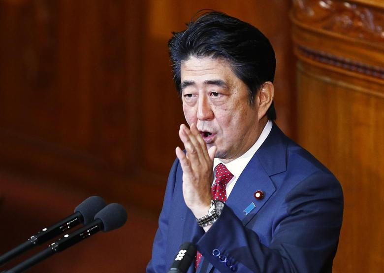 Japan's Prime Minister Shinzo Abe delivers his policy speech at the lower house of parliament in Tokyo February 12, 2015. REUTERS/Thomas Peter