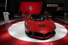 The new LaFerrari hybrid car is pictured on the Ferrari stand during the first media day of the 83rd Geneva Car Show at the Palexpo Arena in Geneva, in this March 5, 2013 file photo. REUTERS/Denis Balibouse/Files