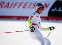 Feb 12, 2015; Beaver Creek, CO, USA; Mikaela Shiffrin of the United States reacts after run two of the womens giant slalom in the FIS alpine skiing world championships at Raptor Racecourse. Mandatory Credit: Jeff Swinger-USA TODAY Sports