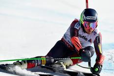 Feb 13, 2015; Beaver Creek, CO, USA; Ted Ligety of the United States in run two of the men's giant slalom in the FIS alpine skiing world championships at Birds of Prey Racecourse. Ligety came in first place. Mandatory Credit: Eric Bolte-USA TODAY Sports