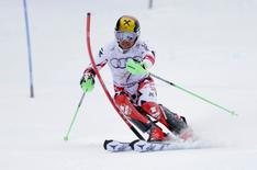 Feb 15, 2015; Beaver Creek, CO, USA; Marcel Hirscher of Austria during run one of the  men's slalom in the FIS alpine skiing world championships at Birds of Prey Racecourse. Mandatory Credit: Erich Schlegel-USA TODAY Sports
