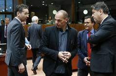 Dutch Finance Minister and Eurogroup chairman Jeroen Dijsselbloem (L-R), Greek Finance Minister Yanis Varoufakis and Croatian counterpart Boris Lalovac attend a European Union finance ministers meeting in Brussels February 17, 2015.   REUTERS/Francois Lenoir