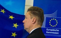 Глава Газпрома Алексей Миллер на газовых переговорах между ЕС, Россией и Украиной в Берлине 26 сентября 2014 года. Украина не внесла очередную предоплату за газ в установленный срок, что ставит под удар надежность транзитных поставок в Европу, заявил Газпром во вторник. REUTERS/Thomas Peter