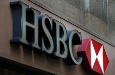 A sign is seen above the entrance to an HSBC bank branch in midtown Manhattan in New York City, in this file photo taken on December 11, 2012. REUTERS/Mike Segar