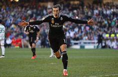 Gareth Bale celebrando gol durante partida contra o Córdoba. 24/01/2015 REUTERS/Marcelo del Pozo
