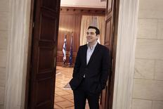 Greek Prime Minister Alexis Tsipras is seen before his meeting with the member of the European Parliament for The Greens Ska Keller (not pictured) at this office in Athens February 27, 2015. REUTERS/Petros Giannakouris