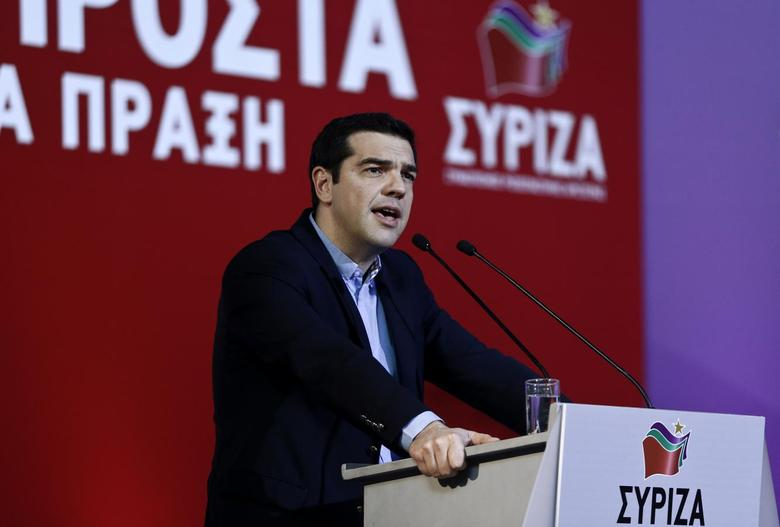 Greek Prime Minister Alexis Tsipras delivers a speech at the ruling Syriza party central committee in Athens, February 28, 2015. REUTERS/Alkis Konstantinidis