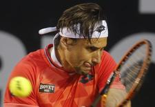 Spain's David Ferrer returns the ball to Italy's Fabio Fognini during their men's singles tennis final match at the Rio Open tournament in Rio de Janeiro February 22, 2015. REUTERS/Sergio Moraes