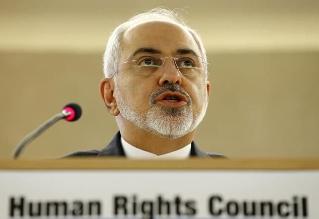 Iranian Foreign Minister Mohammad Javad Zarif addresses the 28th Session of the Human Rights Council at the United Nations in Geneva March 2, 2015.           REUTERS/Denis Balibouse