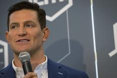 New York Giants punter Steve Weatherford speaks at a news conference in New York March 3, 2015.  REUTERS/Brendan McDermid