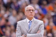 Mar 2, 2015; Syracuse, NY, USA; Syracuse Orange head coach Jim Boeheim watches the action during the second half of a game against the Virginia Cavaliers at the Carrier Dome. Virginia won the game 59-47. Mark Konezny-USA TODAY Sports