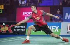 Chen Long of China plays against Son Wan-ho (not pictured) of South Korea during the men's singles badminton final at the Denmark Open 2014 in Odense October 19, 2014. REUTERS/Claus Fisker/Scanpix Denmark