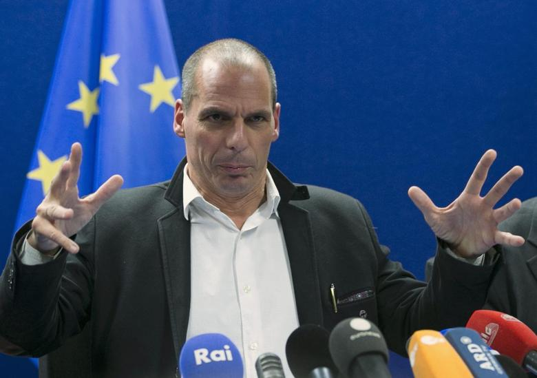 Greek Finance Minister Yanis Varoufakis holds a news conference after an extraordinary euro zone Finance Ministers meeting (Eurogroup) in Brussels February 20, 2015.  REUTERS/Yves Herman