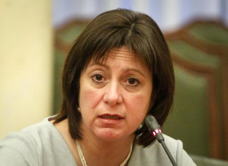 Ukraine's Finance Minister Natalia Yaresko reacts at a news conference in Kiev February 25, 2015.  REUTERS/Valentyn Ogirenko