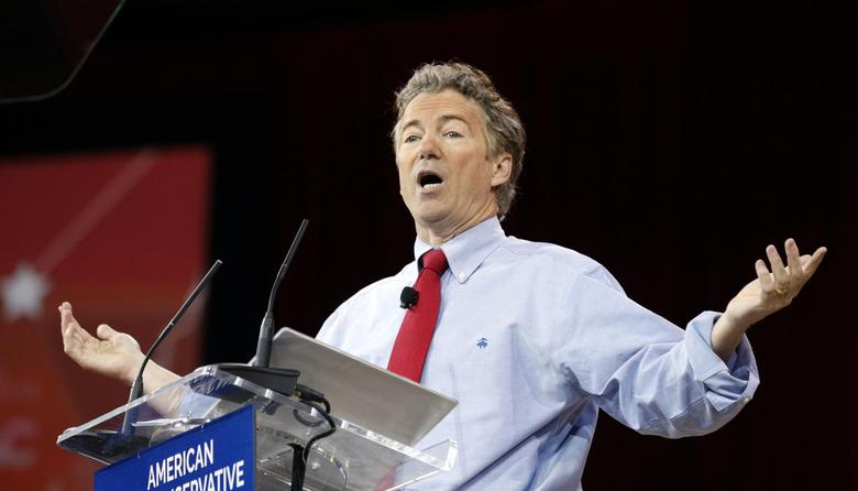 Senator Rand Paul of Kentucky speaks at the Conservative Political Action Conference (CPAC) at National Harbor in Maryland February 27, 2015. REUTERS/Kevin Lamarque