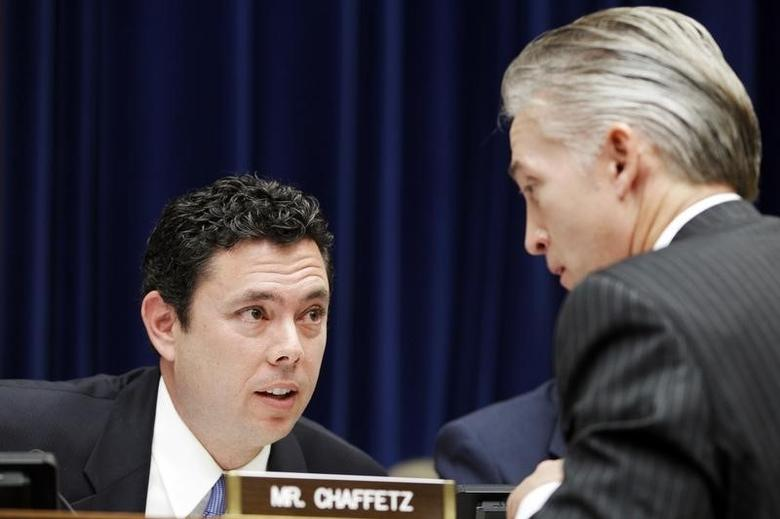 Jason Chaffetz (R-UT) (L) speaks with Trey Gowdy (R-SC) (R)  on Capitol Hill, Washington D.C. October 10, 2012. REUTERS/Jose Luis Magana