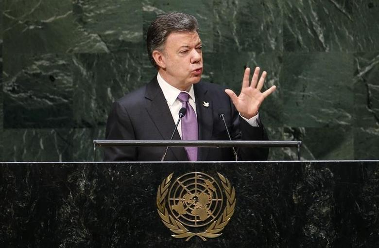 Colombia's President Juan Manuel Santos addresses the 69th United Nations General Assembly at United Nations Headquarters in New York, September 25, 2014.  REUTERS/Mike Segar