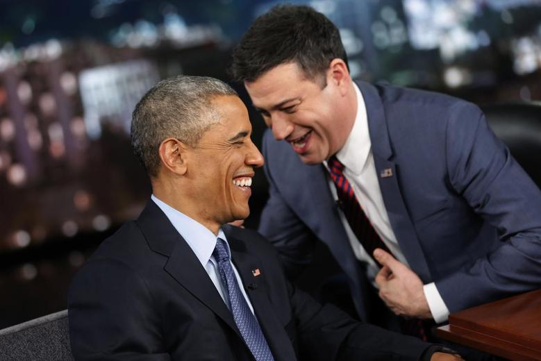 President Obama laughs with show host Jimmy Kimmel during a commercial break in a taping of Jimmy Kimmel Live in Los Angeles March 12, 2015.  REUTERS/Jonathan Ernst