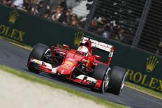 Ferrari Formula One driver Sebastian Vettel of Germany drives during the third practice session of the Australian F1 Grand Prix at the Albert Park circuit in Melbourne March 14, 2015.    REUTERS/Brandon Malone