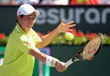 Kei Nishikori (JPN) during his 2nd round match against Ryan Harrison (USA) in the BNP Paribas Open at the Indian Wells Tennis Garden. Nishikori won 6-4, 6-4.Mandatory Credit: Jayne Kamin-Oncea-USA TODAY Sports