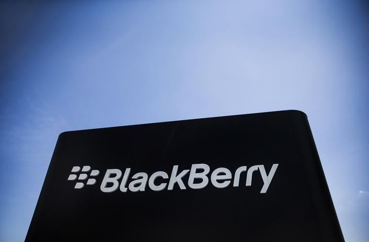 The Blackberry sign is pictured in Waterloo June 19, 2014. REUTERS/Mark Blinch