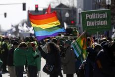 Gay rights advocates prepare to march in an equality parade immediately after the annual South Boston St. Patrick's Day parade in Boston, Massachusetts March 16, 2014.  REUTERS/Dominick Reuter