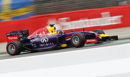 Red Bull Formula One driver Sebastian Vettel of Germany speeds at the German F1 Grand Prix at the Hockenheim racing circuit, July 20, 2014.  REUTERS/Ralph Orlowski