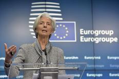 Diretora-gerente do FMI, Christine Lagarde, durante conferência em Bruxelas.   20/02/2015    REUTERS/Eric Vidal