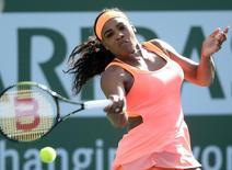 Mar 15, 2015; Indian Wells, CA, USA; Serena Williams (USA) during her match against Zarina Diyas (KAZ) at the BNP Paribas Open at Indian Wells Tennis Garden. Mandatory Credit: Jayne Kamin-Oncea-USA TODAY Sports