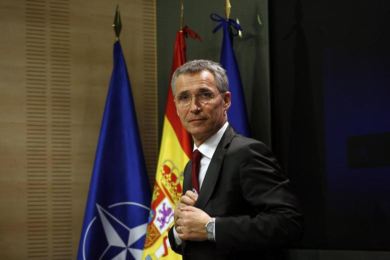 NATO Secretary General Jens Stoltenberg leaves after a joint news conference with Spanish Foreign Minister Jose Manuel Garcia-Margallo (not pictured)  at the Foreign Ministry in Madrid March 12, 2015. REUTERS/Juan Medina (SPAIN - Tags: POLITICS MILITARY)