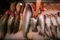 Imagen de archivo de pescados noruegos a la venta en San Petersburgo, ago 7 2014. China impondrá nuevas restricciones sobre las importaciones de salmón desde Noruega debido a los temores de Pekín de que los peces pudieran presentar enfermedades, dijo el miércoles la autoridad de alimentaria del país nórdico. REUTERS/Alexander Demianchuk