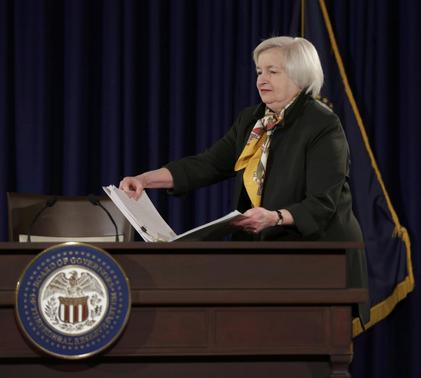 U.S. Federal Reserve Chair Janet Yellen arrives to address a news conference following the two-day Federal Open Market Committee meeting in Washington March 18, 2015. REUTERS-Joshua Roberts