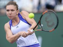 Simona Halep (ROU) during her quarterfinal match against Carla Suarez Navarro (ESP) in the BNP Paribas open at the Indian Wells Tennis Garden. Jayne Kamin-Oncea-USA TODAY Sports