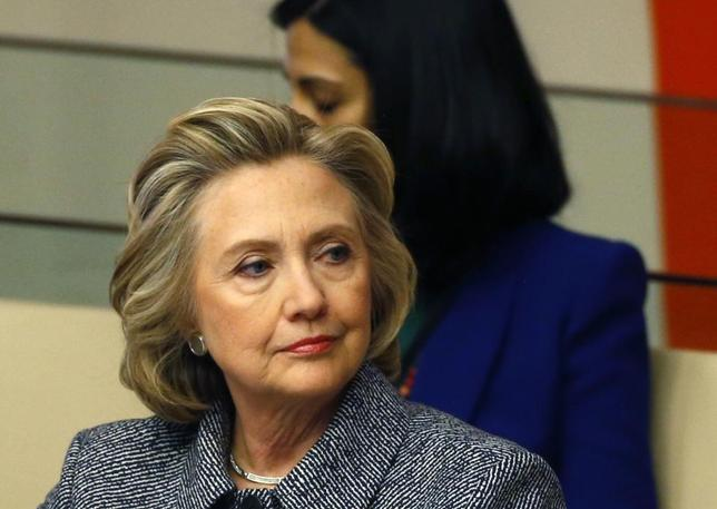 Former U.S. Secretary of State Hillary Clinton sits during the Annual Women's Empowerment event at the United Nations in New York March 10, 2015. REUTERS/Lucas Jackson