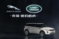 A Land Rover Evoque car is displayed during the Chery Jaguar Land Rover plant opening ceremony in Changshu, Jiangsu province, October 21, 2014.  REUTERS/Aly Song
