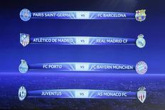 Tabela dos jogos da Liga dos Campeões .   20/03/2015  REUTERS/Pierre Albouy