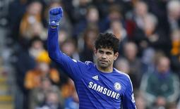 Diego Costa durante partida contra o Hull City.  22/03/2015   Reuters / Andrew Yates Livepic