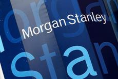 The corporate logo of financial firm Morgan Stanley is pictured on the company's world headquarters in the Manhattan borough of New York City, January 20, 2015.  W  REUTERS/Mike Segar