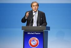 Presidente da Uefa, Michel Platini, durante discurso em Viena.  24/03/2015  REUTERS/Leonhard Foeger