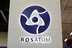 Логотип Росатома на выставке World Nuclear Exhibition 2014 в Ле-Бурже. 14 октября 2014 года. Иордания подписала соглашение с Россией о строительстве первой в истории королевства атомной электростанции мощностью 2.000 мегаватт и ценой $10 миллиардов. REUTERS/Benoit Tessier