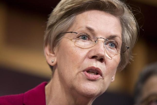 Senator Elizabeth Warren (D-MA) speaks at a news conference to warn about the abolishment of Consumer Financial Protection Bureau in the proposed budget put forward by Senate Republicans on Capitol Hill in Washington March 25, 2015.      REUTERS/Joshua Roberts