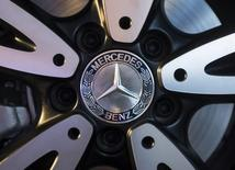 The logo of  Mercedes-Benz is seen on the wheel of the new version of A-Class car during its launch in Mumbai March 11, 2015. REUTERS/Danish Siddiqui