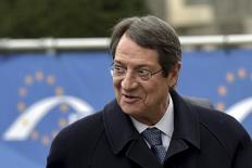Presidente do Chipre, Nicos Anastasiades, chega uma reunião em Bruxelas. 19/03/2015 REUTERS/Eric Vidal