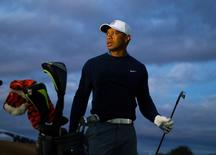 Jan 27, 2015; Scottsdale, AZ, USA; Tiger Woods on the driving range prior to a practice round at TPC Scottsdale. Mandatory Credit: Mark J. Rebilas-USA TODAY Sports